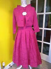 Lindy Bop Marianne Raspberry Pink Twin Set Swing Dress Size 12