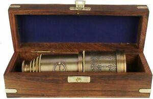 "BRASS ANTIQUE VINTAGE 20""VICTORIAN MARINE TELESCOPE Wooden Box SPYGLASS NEW GIFT"