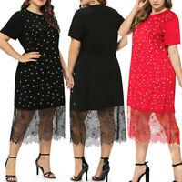 Plus Size Women Casual Short Sleeve Pot Polka Dot Lace Fashion Shirt Dress