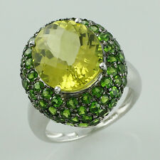 Lemon Quartz 6.82 Ct. Genuine Ring & Chrome Diopside 925 Silver Occasion Jewelry