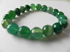Green banded agate gemstone stretch bracelet