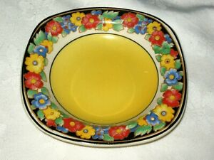 A Vintage Art Deco English Ivory Yellow & Pansy Chintz Floral Small Pin Dish
