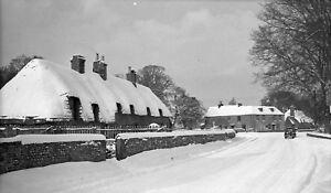 B/W Negative Chawton Hampshire Village Scene Snow 1940s +Copyright DB1263