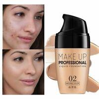 Face Foundation Cream Waterproof Lasting Concealer Liquid Makeup Full Cover Base
