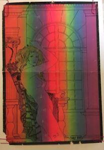 Salemec Original Vintage Blacklight Poster Psychedelic Woman Archer Bow Pin-up