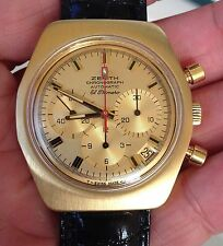 Rare Vintage 18K Zenith El Primero Automatic Chronograph Watch Ref G7810 C.3019