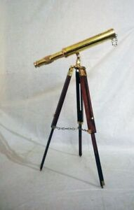 Nautical Brass Telescope Tripod Stand Pirate Monocular Scope Vintage