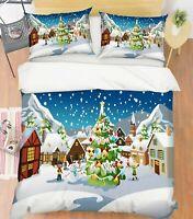3D Xmas Tree Snowman A25 Christmas Bed Pillowcases Quilt Duvet Cover Zoe