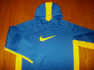 NIKE THERMA-FIT ROYAL BLUE & YELLOW HOODIE MENS LARGE EXCELLENT CONDITION