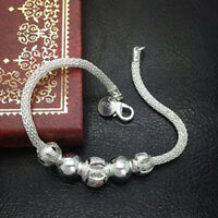 Fashion Silver Plated Chain Jewelry Flower Beads Bracelet For Women Gift