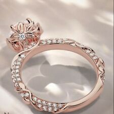 Gorgeous Women Wedding Ring Rose Gold Filled Round Cut White Sapphire Size 6-10