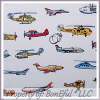 BonEful Fabric FQ Cotton Quilt VTG Toy Military Airplane Blue Boy Jet Helicopter