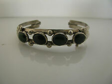 """Sterling Silver Bracelet with 4 Jade Stones green 6"""""""