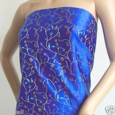 stunning blue Chinese artificial faux silk brocade fabric material meter 91cm w
