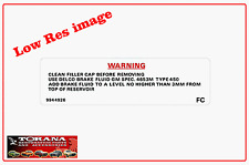 Decal, Warning Brake Fluid for Torana and Holden