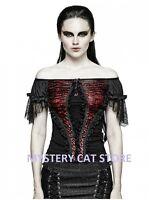 New PUNK RAVE Gothic Rock Blouse Shirt Lace Top Black&Red T-446 AUSTRALIAN STOCK
