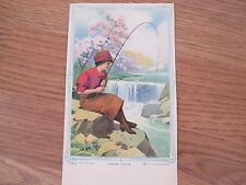 Vintage Early 1900s Calendar Blank Woman Fishing in a Stream Entitled Good Luck