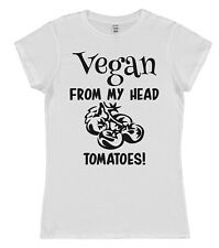 Vegan From My Head Tomatoes Cotton T-Shirt Loose / Fitted Mens Ladies Vegetarian