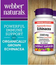 Webber Naturals Echinacea 3360mg Immune Organically Grown 180 Softgels
