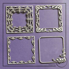 Square Frames Chipboard Shapes Card Making Papercraft Scrapbooking 4 Elements