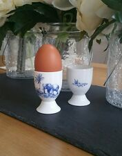 Set of 2 (Pair) Bone China Elephant Safari Egg Cup Hand Decorated In Wales