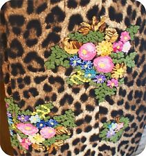 WOMENS COLLECTIBLE MOSCHINO CHEAP AND CHIC DESIGNER LEOPARD EMBROIDERY SLACKS