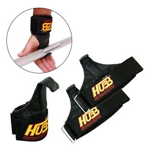 BODY BUILDING HOOKS GYM FITNESS STRENGTH TRAINING CHIN UP BANDAGE POWER GRIPPER