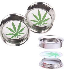 Tunnels Stretchers Jewellery Piercing Tu52 Marijuana Leaf Weed Steel Ear Flesh