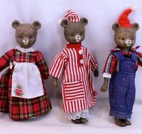 """Mama, Baby, and Papa bear Resin Collectible set of Three 6 1/2"""" tall Unique"""