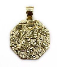 "Mens 10K Yellow Gold Diamond Cut Nugget Octagonal Shape Pendant 6.3 Grams 1.18"""