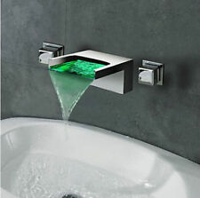 Chrome Wall Mount LED Colors Waterfall Spout Bathroom Sink Faucet Tub Mixer Tap