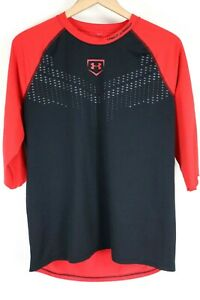 Under Armour UA Mens sz Large Red Black Baseball Exclusive ¾ Sleeve Stealth
