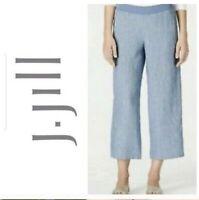 J. Jill Blue Pinstripe Linen Wide Leg Pull On Cropped Pants J.Jill Size Medium