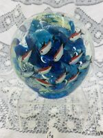 Large Fish Tank Aquarium Globe Sculpture Art Glass Paperweight (Possibly Murano)