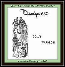 Craft 11½ DOLL Knitting WARDROBE VTG Pattern Design 630 Bridal Gown and more