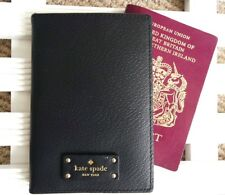 KATE SPADE Black Leather PASSPORT COVER & CARD WALLET TAGS New