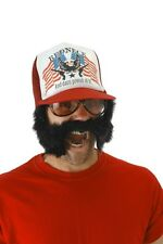 Trash' Stache Trucker Ball Cap with Attached Moustache & Plastic Snap Adjuster