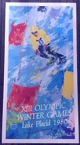 LeRoy Neiman Hand Signed 20x39 Poster 1980 Lake Placid Olympics Skier COA