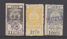 Argentina, Buenos Aires, Forbin 3, 7, 9 used 1896-97 Derecho de Guia Fiscals
