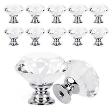 Clear Crystal Diamond Glass Door Knobs Cabinet Drawer Furniture Handle Knob