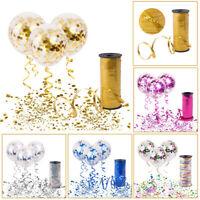 Confettis Rempli Ballon Hélium Bouclé Ruban Corde Anniversaire Fête Mariage Déco