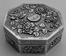 Fine Quality Antique Chinese Export Solid Silver Box; Kwan Hing c1890