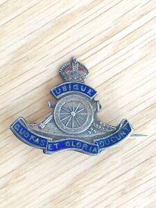 Vintage Regimental Royal Artillery Sterling Silver & Enamel Cap Badge