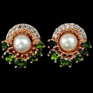 NATURAL AAA WHITE PEARL, CHROME DIOPSIDE & CZ STERLING 925 SILVER STUD EARRING