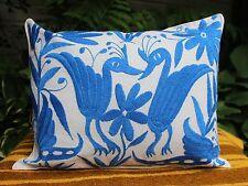#3 Otomi Pillow Blue & Cream Hand Embroidered Mexio Folk Art Decorator Favorite