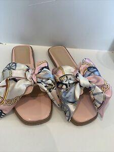 Ladies Pink Bow Sliders Eu 37