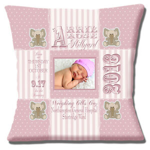 "PERSONALISED BIRTH PINK Name Date Time Weight PHOTO 16"" Pillow Cushion Cover"