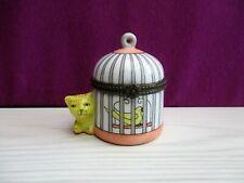 boîte à bijoux cage à oiseau et CHAT en porcelaine de Limoges /trinket box cat