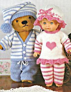 "Knitting Pattern DK Baby Dolls Clothes  12 - 22"" Doll & Teddy Bear Pyjamas"
