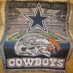 New Dallas Cowboys Cowboy Stadium Woven Throw Blanket NFL Football Team Gift NIP